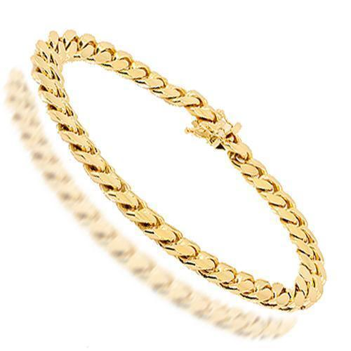 14K Solid Yellow Gold Mens Cuban Link Bracelet 8 mm