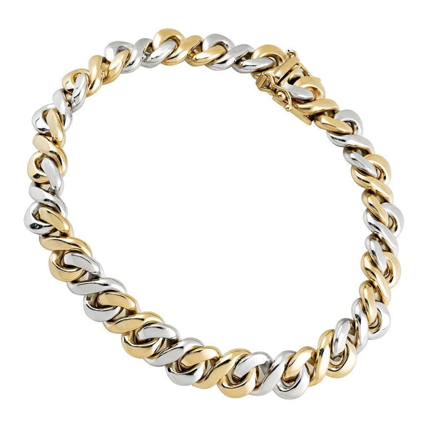 14k Two Tone Gold Infinity Link Bracelet 9 mm