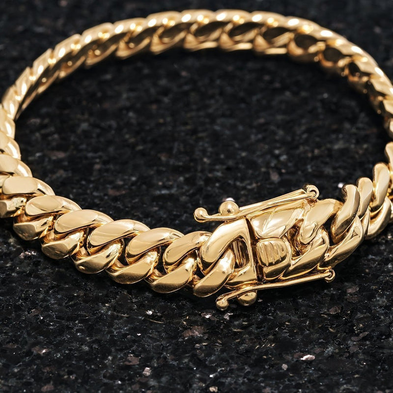 14k Yellow Gold Cuban Link Bracelet 11 mm