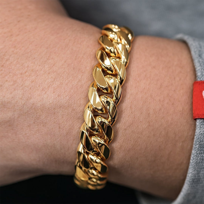 14k Yellow Gold Cuban Link Bracelet 13 mm