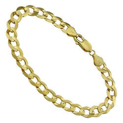 14k Yellow Gold Curb Link Bracelet 8 mm
