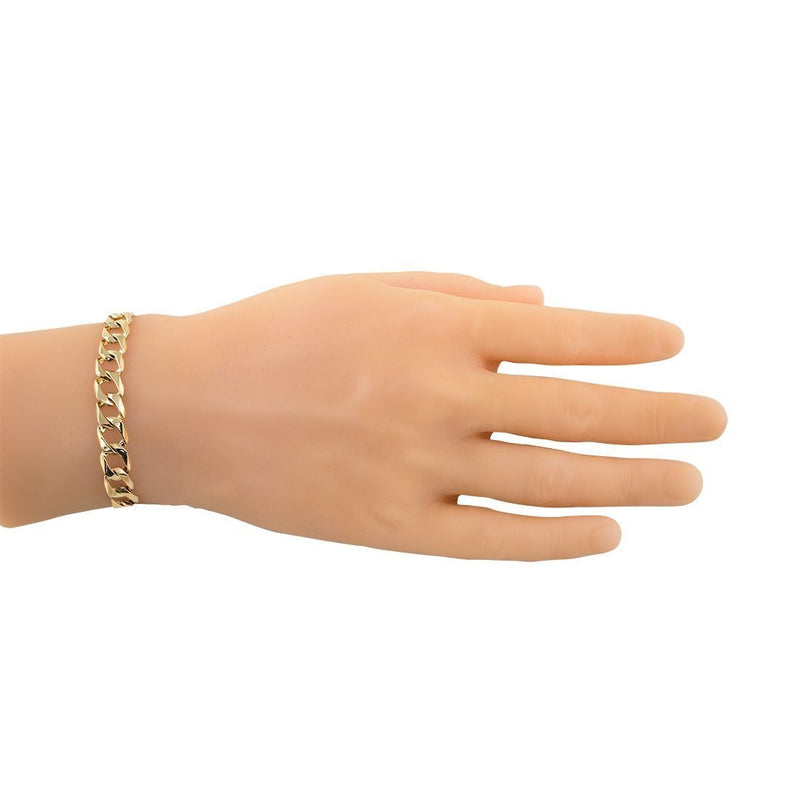 14k Yellow Gold Curb Link Bracelet 9 mm
