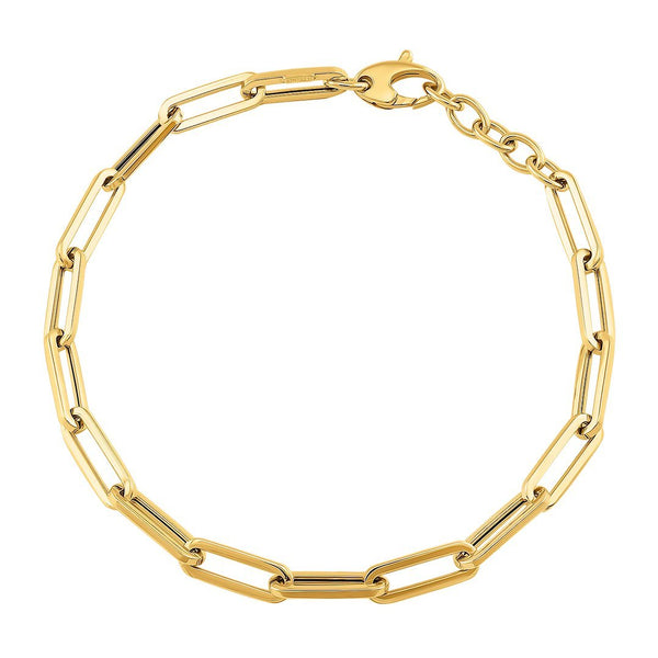 14k Yellow Gold Extended Cable Link Bracelet 5.5 mm