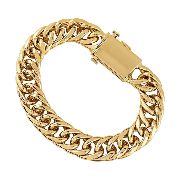 14k Yellow Gold Fancy Link Bracelet 14.5 mm