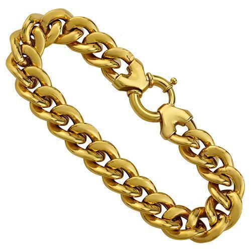 14k Yellow Gold Hollow Cuban Link Bracelet