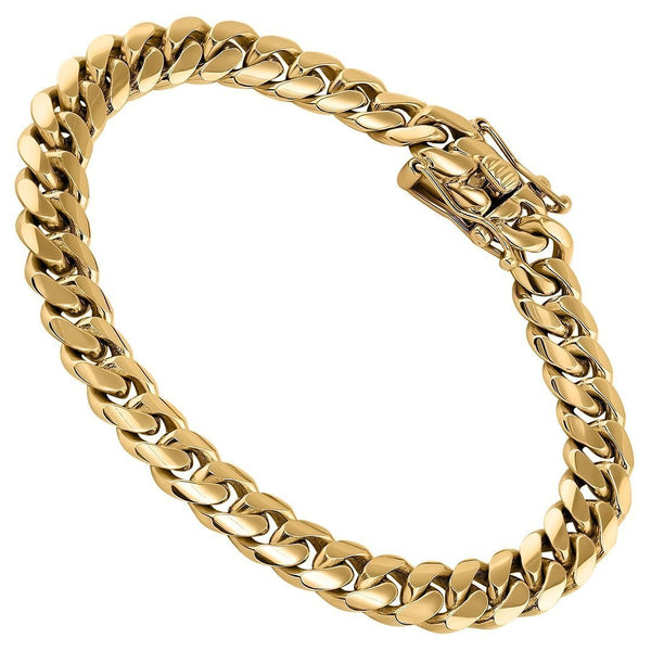 14K Yellow Gold Miami Cuban Link Bracelet 9 mm