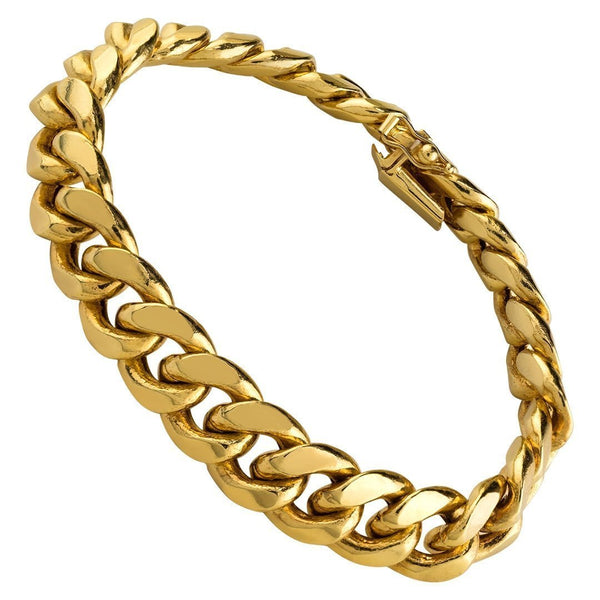 14k Yellow Semi-Solid Gold Cuban Bracelet 11 mm