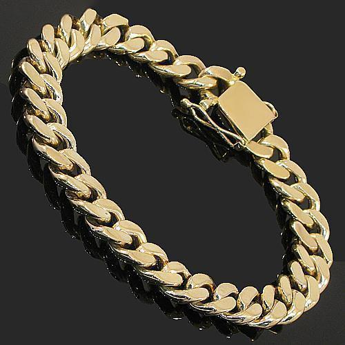 14K Yellow Solid Gold Mens Cuban Bracelet 10 mm