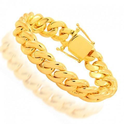 14K Yellow Solid Gold Mens Cuban Bracelet 14 mm