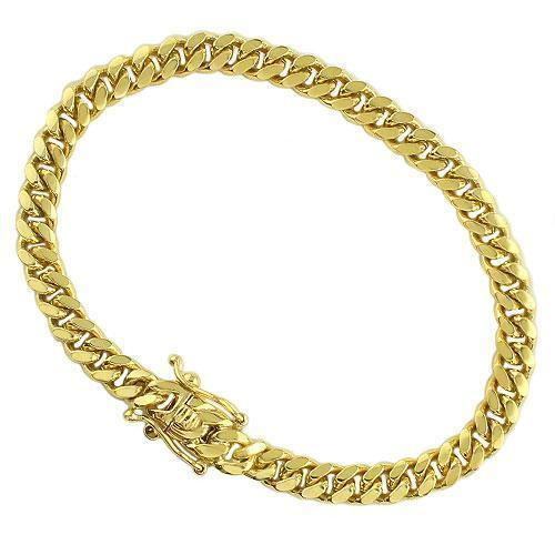 14K Yellow Solid Gold Mens Cuban Bracelet 5.5 mm