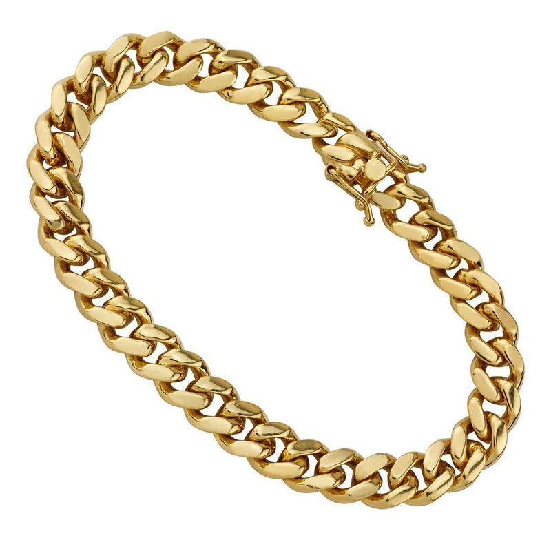 14K Yellow Solid Gold Mens Cuban Bracelet 9.5 mm