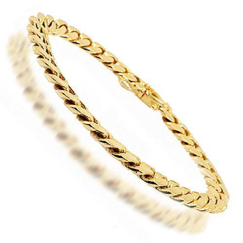 14K Yellow Solid Gold Mens Cuban Link Bracelet 7 mm