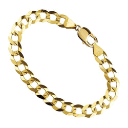 14K Yellow Solid Gold Mens Curb Bracelet 11 mm
