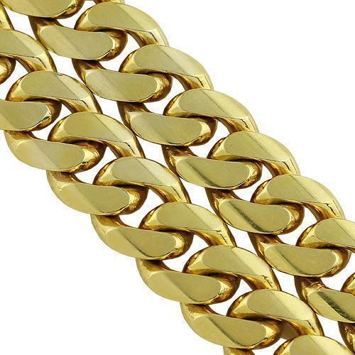 14K Yellow Solid Gold Mens Double Cuban Link Bracelet 23 mm