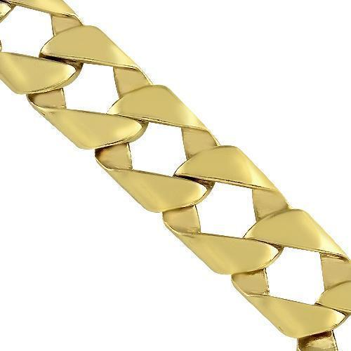 14K Yellow Solid Gold Mens Fancy Bracelet 11 mm