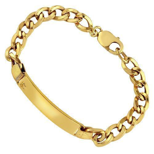 14K Yellow Solid Gold Mens ID Bracelet 12mm