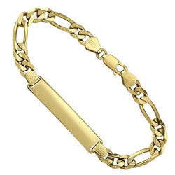 14K Yellow Solid Gold Mens ID Bracelet