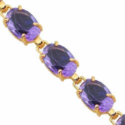 14K Yellow Solid Gold Womens Amethyst Bracelet