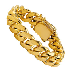 18K Yellow Gold Cuban Bracelet 15.5 mm