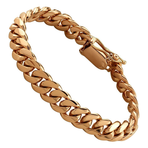 Cuban Link Bracelet in 14K Rose Gold