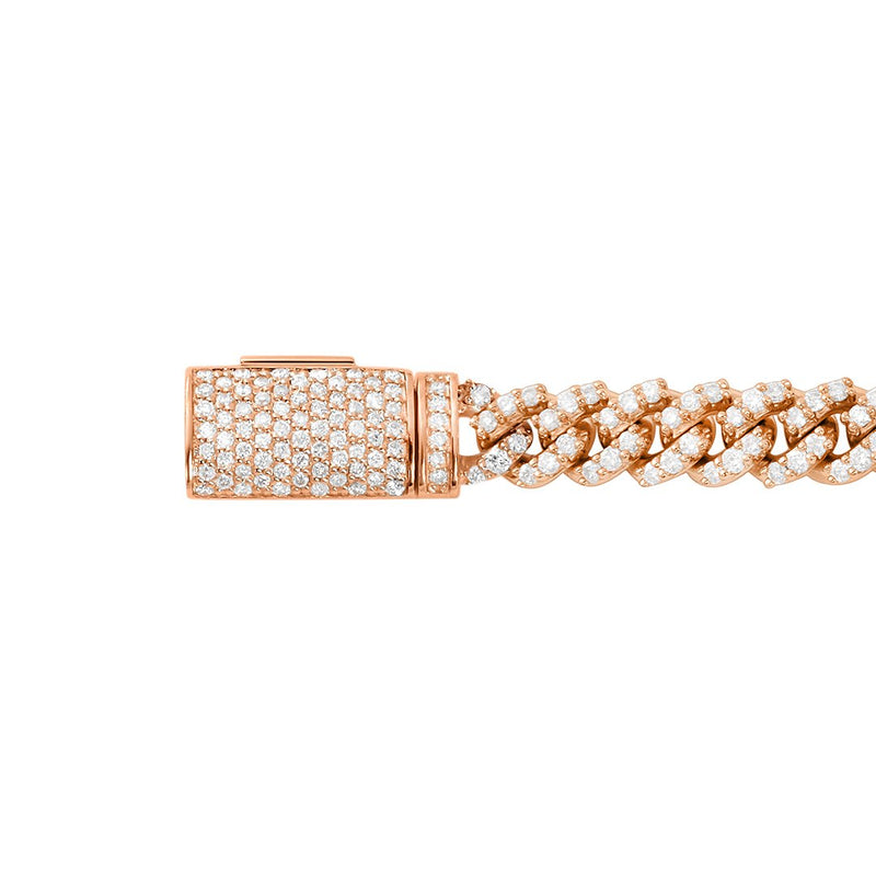 Diamond Cuban Bracelet in 14k Rose Gold 3.30 Ctw