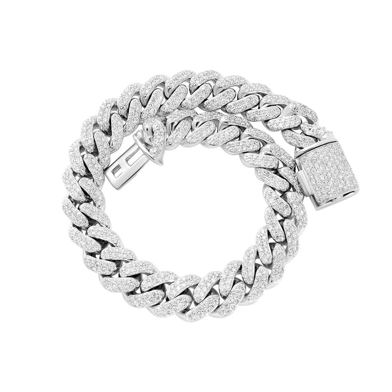 Diamond Cuban Bracelet in 14k White Gold 4.50 Ctw