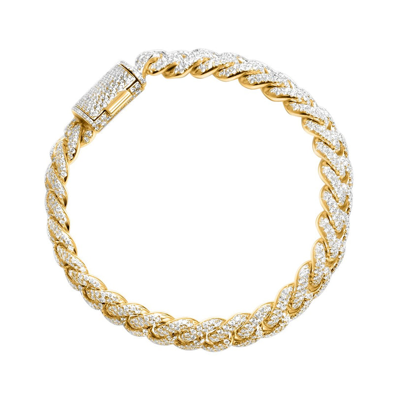 Diamond Paveset Cuban in 14k Yellow Gold 14 Ctw