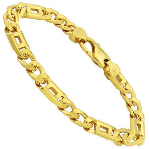Figaro Fancy Bracelet in 14k Yellow Gold 8 Inches