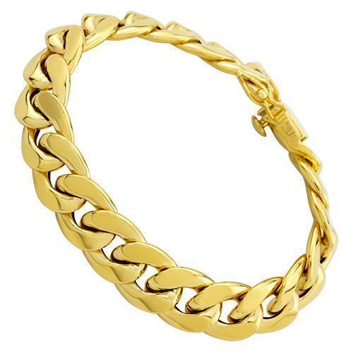 Hollow Cuban Link Bracelet in 14k Yellow Gold 15 mm