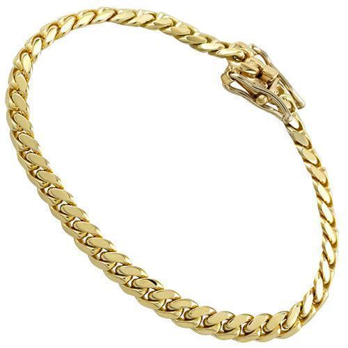Mens Hollow Cuban Link Bracelet in 14k Yellow Gold