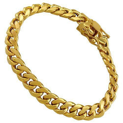 Semi-Solid Cuban Link Bracelet in 14k Yellow Gold 8 Inches