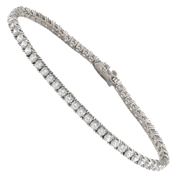 Silver Lab Created Stones Tennis Bracelet 7.5 Ctw 3 mm