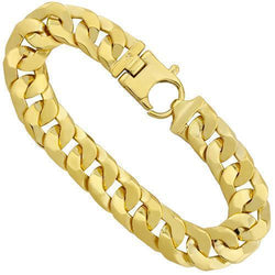 Solid Cuban Link Bracelet in 14k Yellow Gold