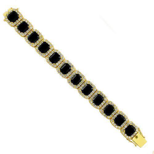 Sterling Silver Yellow Gold Plated Semi-Precious Crystal Onyx Bracelet