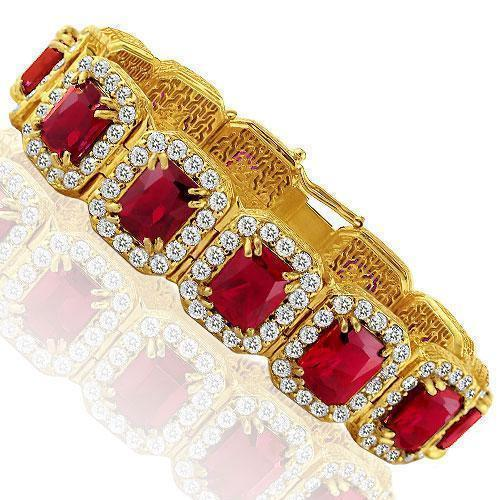 Sterling Silver Yellow Gold Plated Semi-Precious Crystal Ruby Bracelet