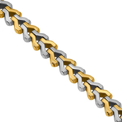 Two Tone V link with Diamond Buckle in 14k Gold 2.75 Ctw