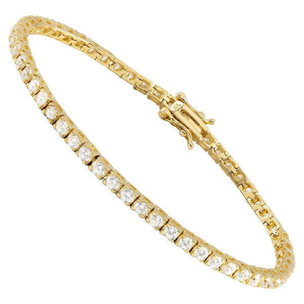 Yellow Gold Plated Silver Lab Created Stones Tennis Bracelet 4 Ctw 2.5 mm