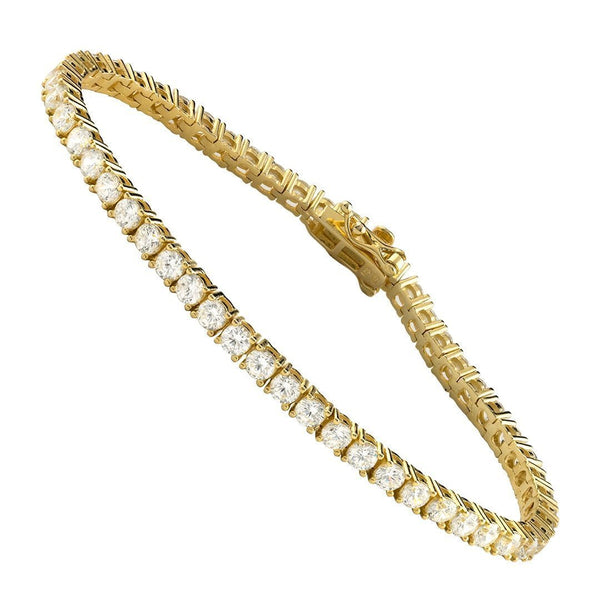 Yellow Gold Plated Silver Lab Created Stones Tennis Bracelet 7 Ctw 3 mm