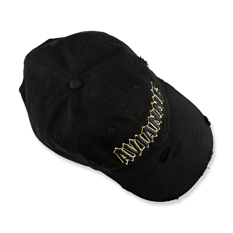 Avianne Black Gold Border Distressed Cap