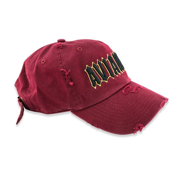 Avianne Burgundy Distressed Cap