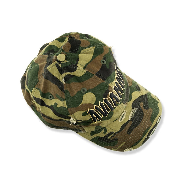 Avianne Green Camouflage Distressed Cap