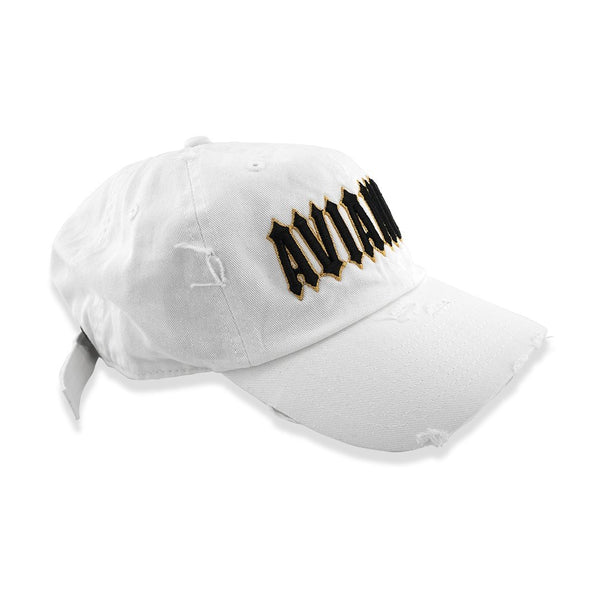 Avianne White Distressed Cap