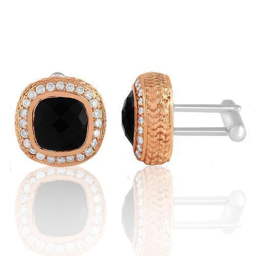 14K Solid Rose Gold Mens Diamond Cufflinks With Black Onyx 9.00 Ctw