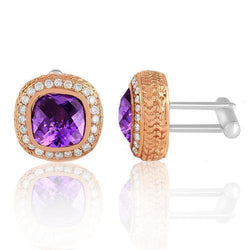 14K Solid Rose Gold Mens Diamond Cufflinks With  Purple Amethyst  9.00 Ctw