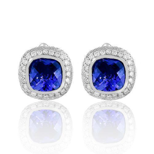14K Solid White Gold Mens Diamond Cufflinks With Blue Sapphire 9.00 Ctw