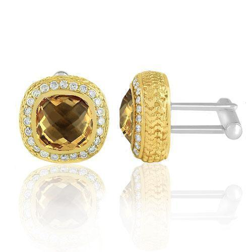14K Solid Yellow Gold Mens Diamond Cufflinks With Champagne Citrine 9.00 Ctw