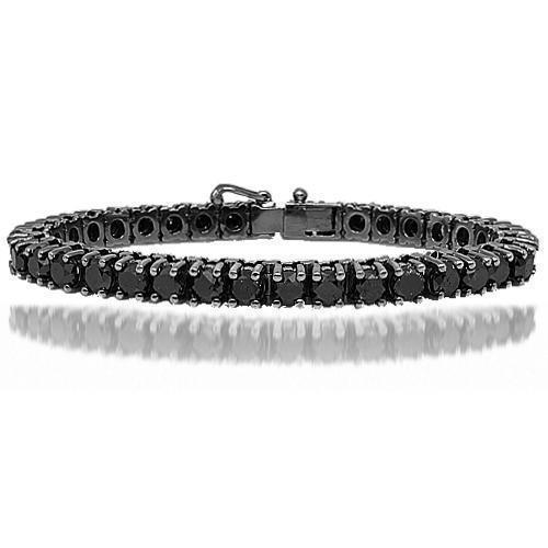 10K Solid Gold Black Rhodium Mens Diamond Tennis Bracelet with Black Diamonds 27.00 Ctw