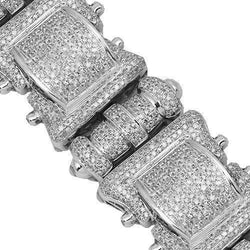 10K White Solid Gold Mens Diamond Bracelet 12.00 Ctw