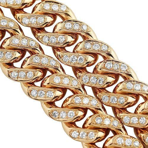 14K Rose Solid Gold Mens Diamond Double Row Cuban Bracelet 6.50 Ctw