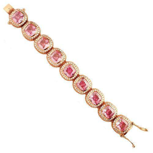 14K Rose Solid Gold Mens Diamond Pink Sapphire Bracelet 56.00 Ctw